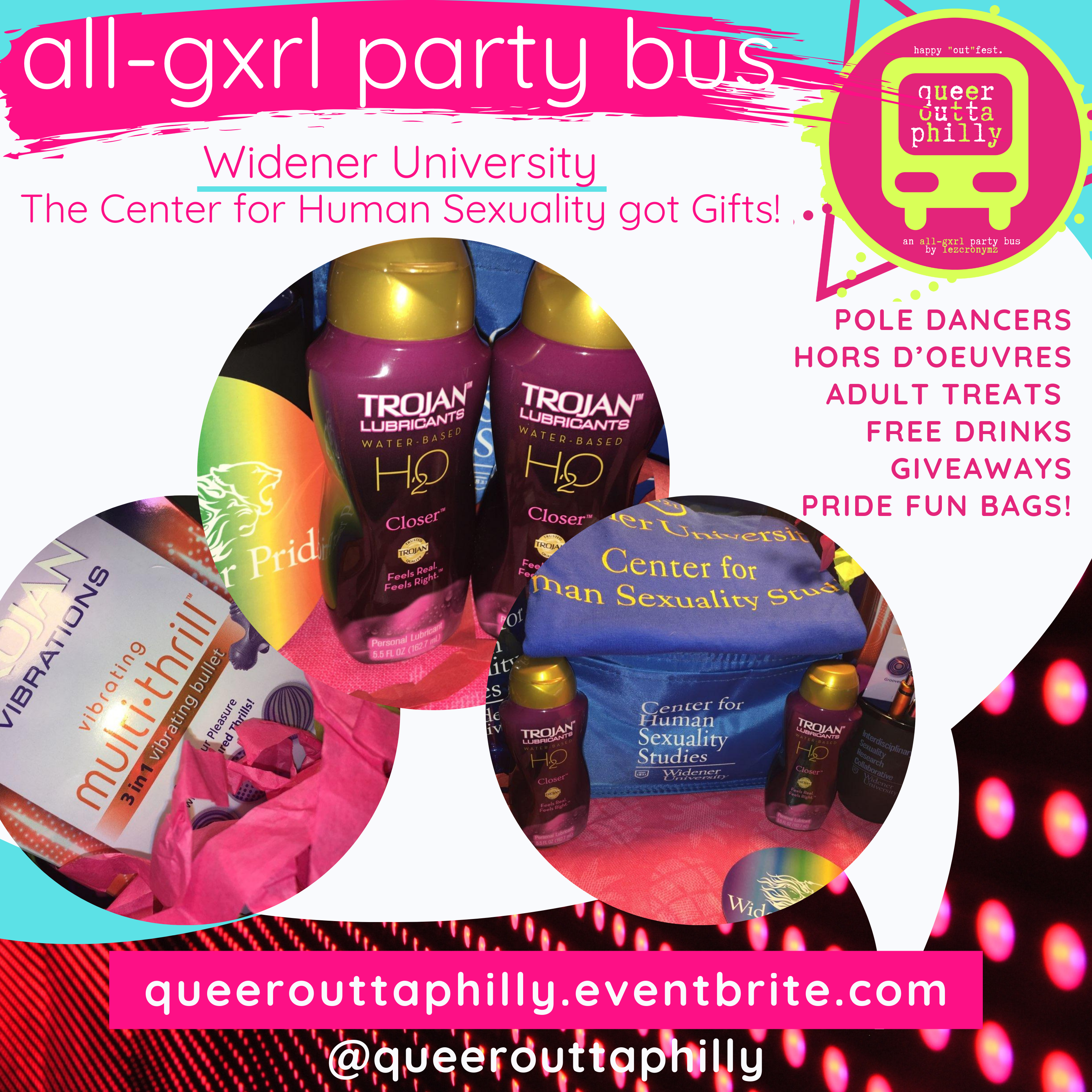 You could win a gift bag provided by the university! Each guest on our Party Bus gets at least one chance to win!